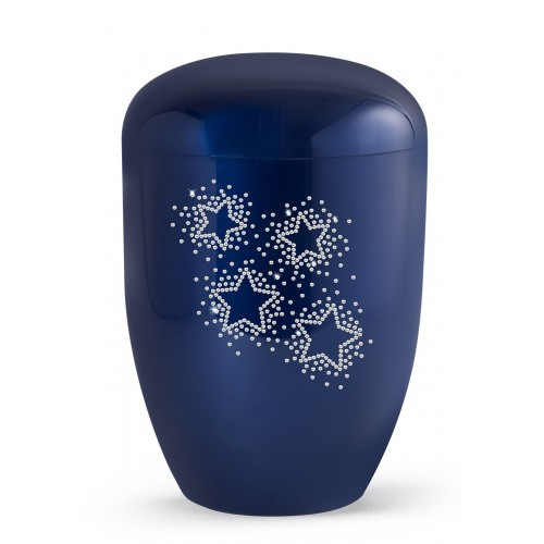 Karat Edition Biodegradable Cremation Ashes Funeral Urn – Royal Blue, Starry Crystal