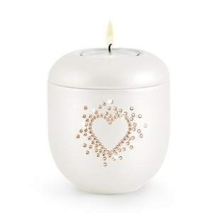 Cherished Crystal Hearts (Swarovski) Candle Holder Keepsake – Rose Pearl