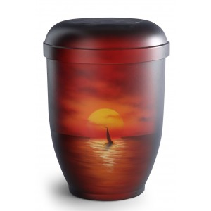 Hand Painted Biodegradable Cremation Ashes Urn – Sunset Sail