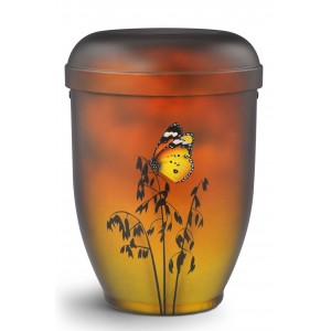 Hand Painted Biodegradable Cremation Ashes Urn – Summer Butterfly (Fertility & Resurrection)