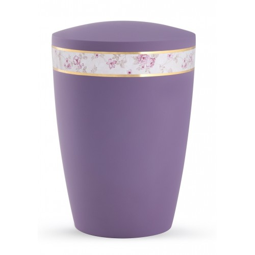 Pastel Edition Biodegradable Cremation Ashes Funeral Urn – Lilac with Floral Border