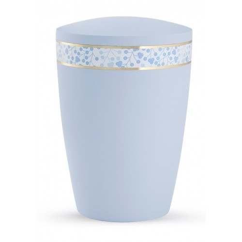 Pastel Edition Biodegradable Cremation Ashes Funeral Urn – Light Blue with Leaf Border