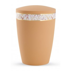 Pastel Edition Biodegradable Cremation Ashes Funeral Urn – Peach with Leaf Border
