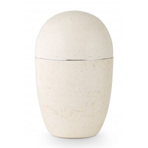 Steel Urn (Artificial Stone Design – Creamy White)