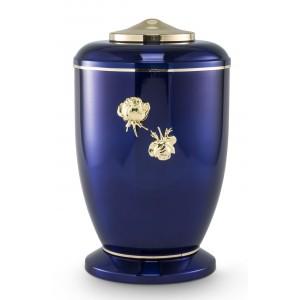 Steel Urn (Roman Rose Decoration – High Gloss Cobalt Blue)