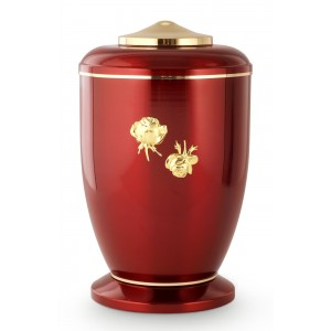 Steel Urn (Roman Rose Decoration – High Gloss Ruby Red)