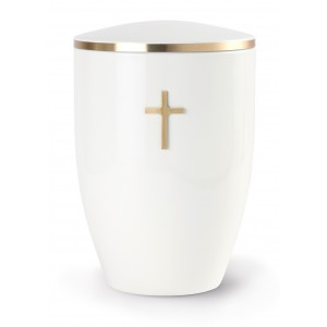 Melina Edition Steel Cremation Ashes Urn – White with Gold Cross Motif