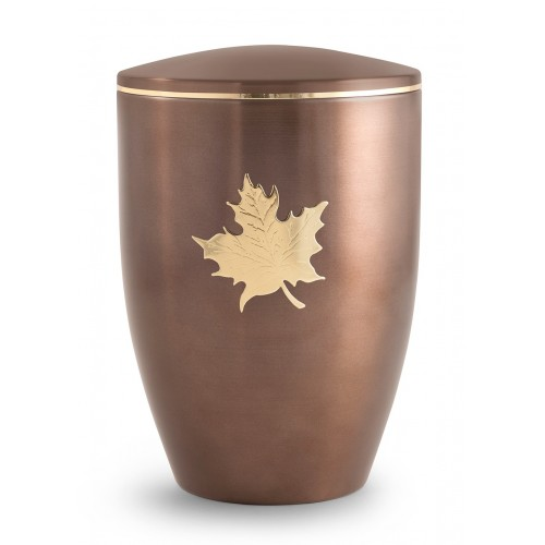 Melina Edition Steel Cremation Ashes Urn - Carmel with Gold Maple Leaf Emblem