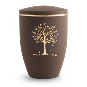 Melina Edition Steel Cremation Ashes Urn - Café with Gold Tree Motif