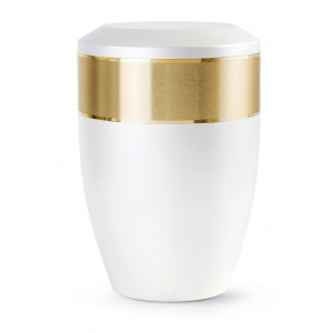 Aurum Edition Steel Cremation Ashes Urn – Mother of Pearl with Gold Decorative Band