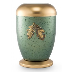 Steel Urn (Oak Leaf Design – Polar Green)