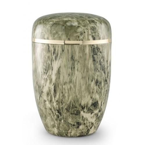 Steel Urn (Marbled Green / White Finish– Golden Trim)