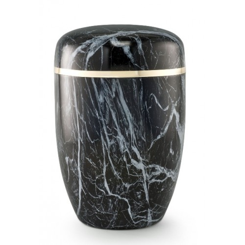 Steel Urn (Marbled Black / White Finish– Golden Trim)