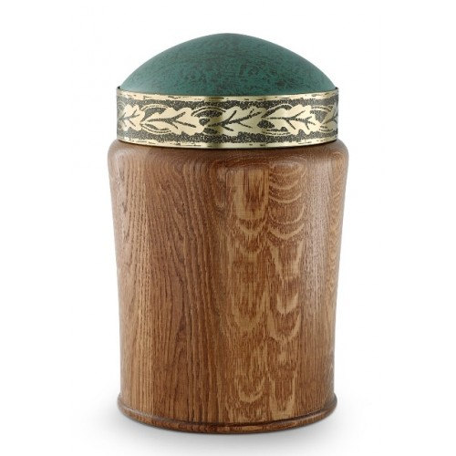 Rustic Oak Cremation Ashes Urn (Patinated Oak Leaves Relief)