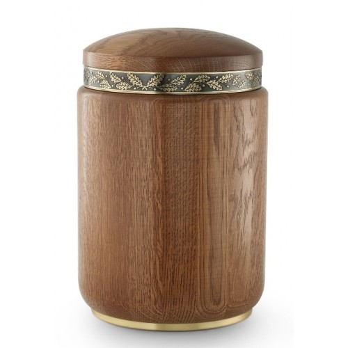 Rustic Oak Cremation Ashes Urn (Ornamental Ring)