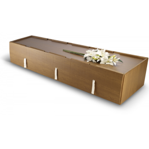 Premium Monmouth Cardboard Coffin. Woodgrain Finish