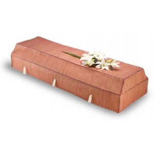 Environ Casket with Cherry Banana Leaf Cover