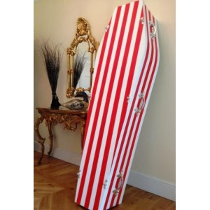 Red & White Striped - Sports style colourful coffin