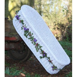 Wicker (Oval) Coffin in White