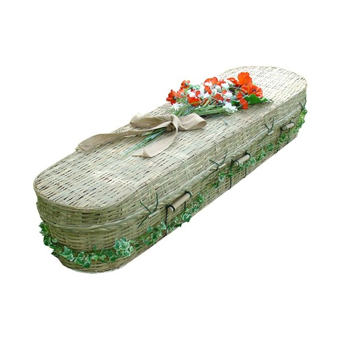 Vintage BAMBOO Sovereign (Oval Style) Coffin.  Eco Friendly Offerings with Huge Savings