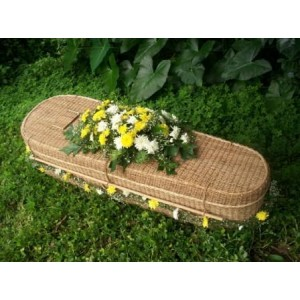 Hand Woven Abaca Oval Shape Coffin. Finest Environmentally Friendly Funeral Products.