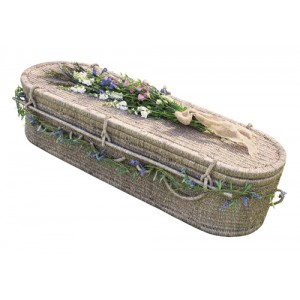 Seagrass Sovereign Oval Style Coffin. Beautiful Natural Woven Products