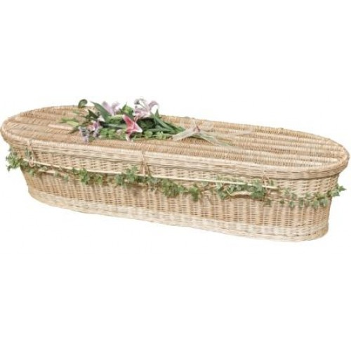 Autumn Gold Creamy-White Wicker / Willow (Oval Style) Coffin. 'BEAUTIFUL NATURAL COFFINS'