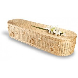 Premium Wicker / Willow Imperial White Oval Coffin. Please call for best prices