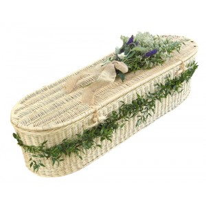Creamy White Wicker / Willow Sovereign (Oval Style) Coffin.