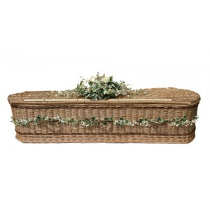 UK Sourced & Made Weatherbeaten Sovereign Gold Willow (Oval Style) Coffin. Please call for best prices
