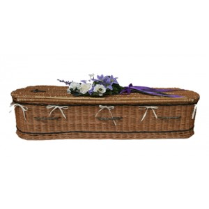 UK Sourced & Made Buff Sovereign Willow (Oval Style) Coffin. Please call for best prices