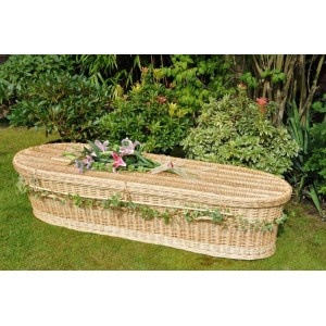 Creamy-White Wicker / Willow Wellsbourne Natural  (Oval Style) Coffin. Please call for best prices
