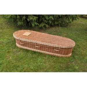 Autumn Gold Premium Wicker / Willow Two Tone (Oval) Coffin. Hand woven to the finest quality