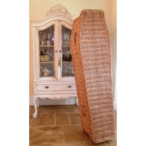 Harvest Gold Wicker Coffin. Massive 35% Off