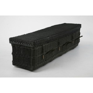 Orchestra Black Wicker Willow Coffin - Available in Oval & Traditional Styles - Please call for best prices