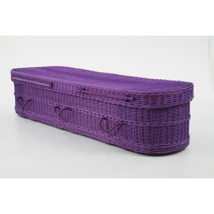 Purple Eco Friendly Wicker Willow Coffins - Available in Oval & Traditional Styles - Please call for best prices