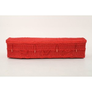 Red Eco Friendly Wicker Willow Coffins - Available in Oval & Traditional Styles - Please call for best prices