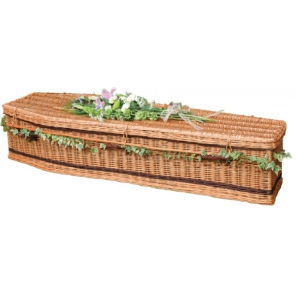 Woven Basket Casket : Autumn gold wicker willow brown traditional style