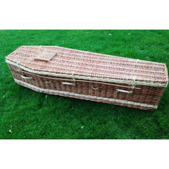 Autumn Gold Premium Wicker / Willow Brown & Cream (Traditional) Coffin  'BIG PRICE SAVINGS'