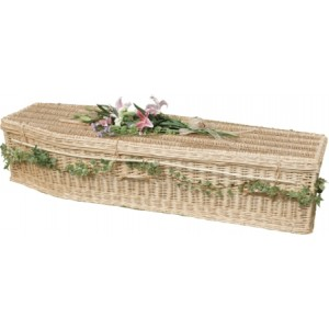 Autumn Gold Creamy-White Wicker / Willow (Traditional) Coffin. 'UNIQUE & SPECIAL'