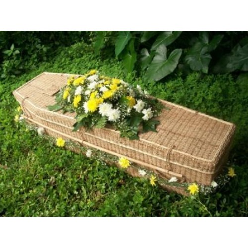 Hand Woven Abaca Traditional Shape Coffin. Elegantly Made By Skilled Weavers.