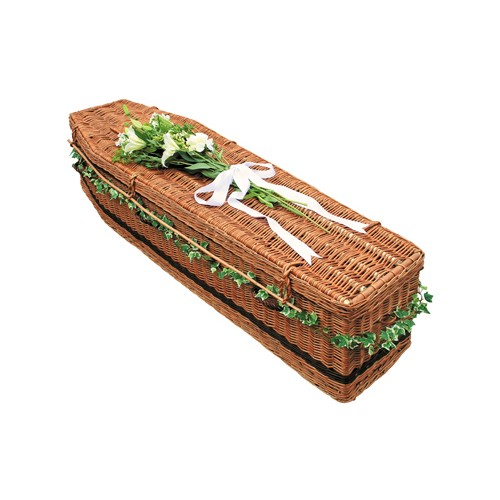 Golden Brown Wicker / Willow Sovereign (Traditional Style) Coffin. Quality Craftsmanship