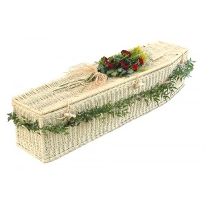Creamy White Wicker / Willow Sovereign (Traditional Style) Coffin.