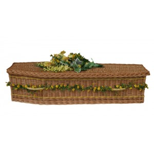 UK Sourced & Made Buff Sovereign Willow (Traditional Style) Coffin. Please call for best prices