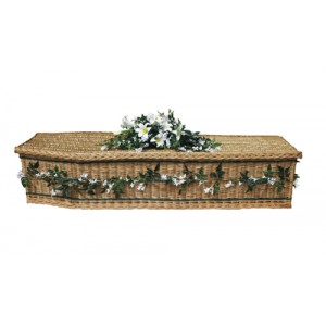 UK Sourced & Made Weatherbeaten Sovereign Gold Willow (Traditional Style) Coffin. Please call for best prices