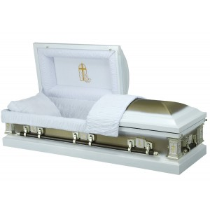 White & Brushed Gold - Premium 18 Gauge Steel American Casket – Luxurious White Crepe Interior