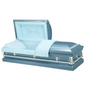 Monarch Blue - Premium 20 Gauge Steel American Casket – Sky Blue Crepe Interior
