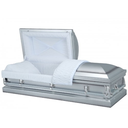 Stellar Silver - Premium 20 Gauge Steel American Casket – Beautiful White Crepe Interior