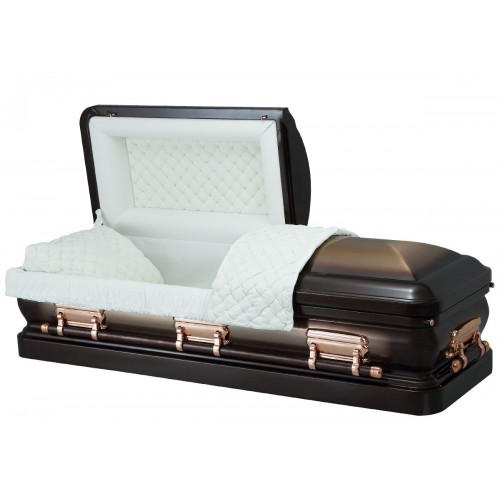 Bronze & Antique Copper - Premium 18 Gauge Steel American Casket – Almond Velvet Interior