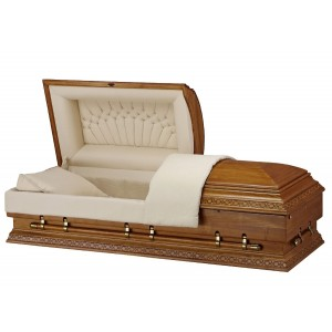 Mission Brown Finish (Paulownia) XL - Premium Wooden American Casket – Khaki Cross Weave Interior